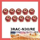 3RAC-N30/RE 3mm Aluminum Lock Nuts (10 Pcs) - Red