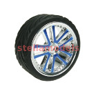 WH-03/BU 1/10 5 Dual Spoke Rim & Tyre Set On Road (0 Offset - 24mm) 4pcs- Blue