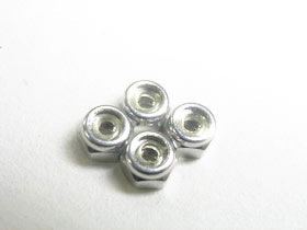 #KM-014/S 2mm Alumininum Lock Nut - Silver For Mini-Z