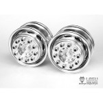 Aluminum Front Wheels (Wide, Oval Holes, 1Pr.) for 1/14 Tractor Trucks (W-2018-B) [LESU]