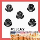 53162 4mm Anodized Alum Flange Lock Nuts (Black, 5 pcs.)