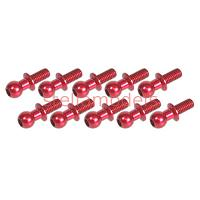 3RAC-BS4806/RE Aluminum 4.8mm Ball Stud L=6 (10 pcs) - Red