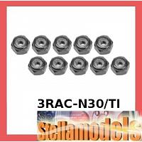 3RAC-N30/TI 3mm Aluminum Lock Nuts (10 Pcs) - Titanium Color