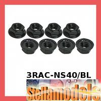 3RAC-NS40/BL 4mm Aluminum Locknut Serrated (8pcs) - Black