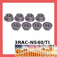 3RAC-NS40/TI 4mm Aluminum Locknut Serrated (8pcs) - Titanium