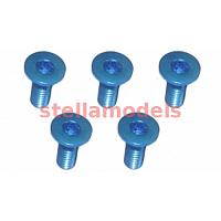 TS-FSM308AL/LB M3 x 8 AL7075 Flat Head Hex Socket - Machine (5 Pcs) Light Blue