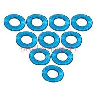 3RAC-WF305/LB Aluminium M3 Flat Washer 0.5mm (10 Pcs) - Light Blue