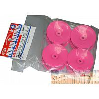 49422 TAMIYA Fluorescent Pink Med-Narrow Dish Wheels +2mm