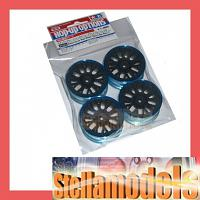 84252 Medium-Narrow Mesh Wheels (Black & Blue Rims/+2) 4PCS.