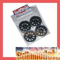 84253 Medium-Narrow Mesh Wheels (Black & Chrome Rims/+2) 4PCS.