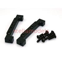 Aluminum Front Dual Servo Stays (Black, 2Pcs.) for Tamiya 1/14 Tractor Trucks (G-6001) [LESU]