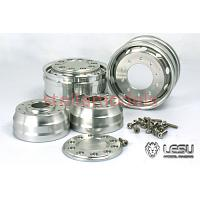Aluminum Front Wheel (Wide, 1Pr.) for 1/14 R/C Tractor Trucks (W-2041A) [LESU]