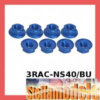 3RAC-NS40/BU 4mm Aluminum Locknut Serrated (8pcs) - Blue