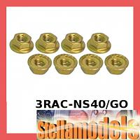 3RAC-NS40/GO 4mm Aluminum Locknut Serrated (8pcs) - Gold