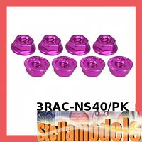 3RAC-NS40/PK 4mm Aluminum Locknut Serrated (8pcs) - Pink