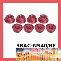 3RAC-NS40/RE 4mm Aluminum Locknut Serrated (8pcs) - Red