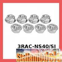 3RAC-NS40/SI 4mm Aluminum Locknut Serrated (8pcs) - Silver