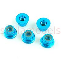 4mm Aluminum Lock Nuts (Light Blue, 5Pcs.) (SS-NN40/LB)