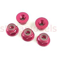 4mm Aluminum Lock Nuts (Red, 5Pcs.) (SS-NN40/RE)