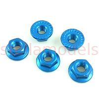 4mm Aluminum Serrated Lock Nuts (Blue, 5Pcs.)