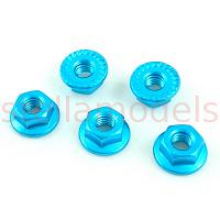 4mm Aluminum Serrated Lock Nuts (Light Blue, 5Pcs.)