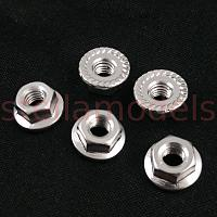 4mm Aluminum Serrated Lock Nuts (Silver, 5Pcs.)