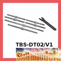 TBS-DT02/V1 Titanium Turnbuckle Set for Tamiya DT-02