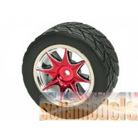 WH-05/RE 8-Spoke Rim & Tyre -Red 4 pcs for M-03 M-04 Series