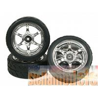 WH-07/SI 6 Spoke Tyre Set - Silver Color for 1/12 Tamiya GT-01