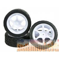 WH-07/WI 6 Spoke Tyre Set - White Color for 1/12 Tamiya GT-01