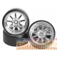 WH-24/SI 1/10 9 Spoke Wheel & Tyre Set for Drift with Spark Effect