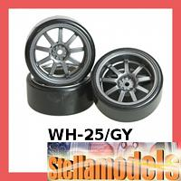 WH-25/GY 9 Spoke Wheel & Tyre Set for Drift w/Spark Effect 7mm