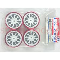 84243 Medium-Narrow Mesh Wheels White/Red Rim (+2) 4PCS.