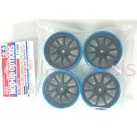 84244 Medium-Narrow 10-Spoke Wheels Black/Blue Rim (±0) 4PCS