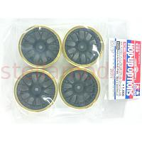 84250 Medium-Narrow Mesh Wheels (Black & Gold Rims/+2) 4PCS.