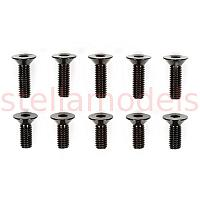 Aluminum Countersunk Hex Head Screw Set (3x8mm, 3x10mm/Black) [TAMIYA]