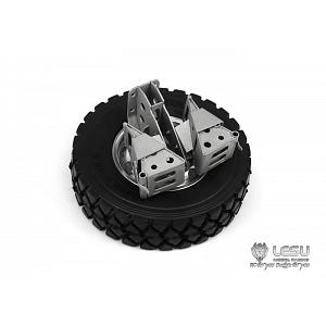 Spare wheel/tire with holder and chocks for 1/14 Trucks (G-6152) [LESU]