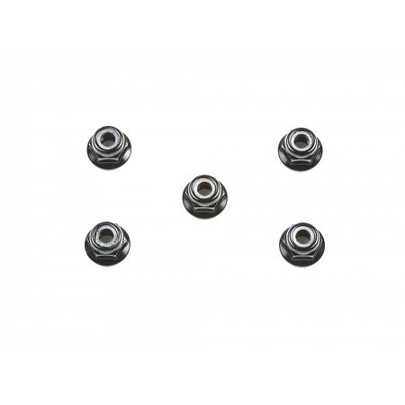53162 4mm Anodized Alum Flange Lock Nuts (Black, 5 pcs.) [TAMIYA] 1