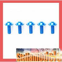 84107 3x8mm Aluminum Flanged Screw (Blue, 5pcs)