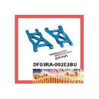 #DF03RA-002E2BU Aluminum Rear Lower Arm 2.5 Deg Toe In 257mm (BU) For Tamiya DF-03RA